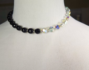 Vintage Choker Necklace Clear Rainbow Glass Crystal and Jet Black Crystal Faceted Beads