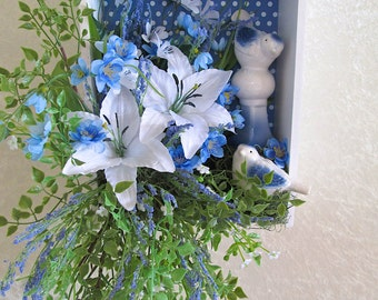 Silk Floral Arrangement in a Blue and White Polka Dot Wall Box with White Lilies and Ceramic Birds, Shelf Decor, Silk Flower Arrangement