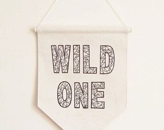 Wall Banner - Pennant Flag - Wall Hanging - Wild One - Kids Wall Decor - Boys Room - Girls Room - Banner
