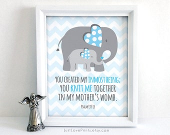 Christian Scripture Elephant Chevron Baby Nursery Art - Pslam 139:13 - 8x10 Print