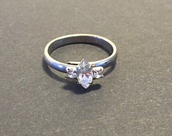 Vintage Costume Faux Diamond Marquee Adjustable Ring