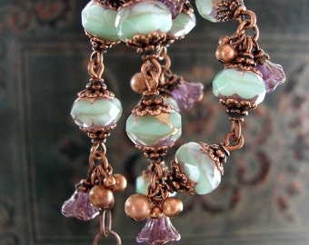 Mint and Lavender Czech Glass Bracelet - Floral Antique Copper Filigree - Purple Flower Dangle Bracelet - Garden Wedding Bridesmaid Gift