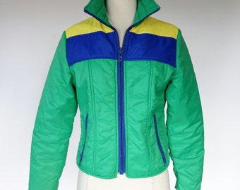 1970s ski jacket, green puffy quilted color block winter coat, blue and yellow puffer jacket, small