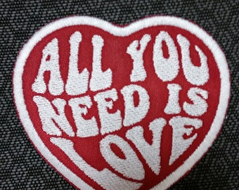 All You Need Is Love Embroidered Heart Patch with Iron On Backing, Love Patch, Beatles Inspired Patch, Heart Patch for Apparel