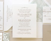 The Spearmint Blossom Suite, Sample, Modern Letterpress Wedding Invitation Suite, Taupe, Gold, Block font, Simple, Modern, Elegant, Classic
