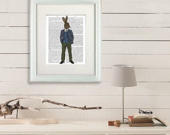 Rabbit Print -  Blue Waistcoat - woodland theme country art Rabbit poster bedroom wall décor bedroom art unique home décor Whimsical print
