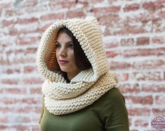 Hooded Scarf, Hooded Cowl, Hooded Infinity Scarf, Hooded Scarves, Chunky Knitwear, Neck Warmer, Fall Fashion, Winter Accessories