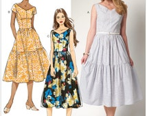Butterick B6203 UNCUT  Misses' Dressy Casual Special Occasion Gathered Tiered Princess Seam Rural Chic Dresses Sz 6 - 22 Sewing Pattern