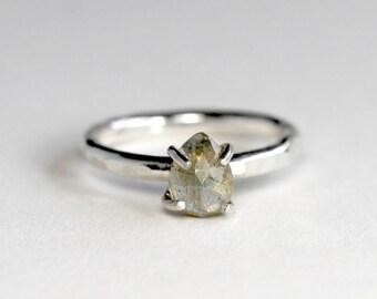 Rose Cut Labradorite Stacking Ring - Labradorite Ring - Labradorite Solitaire Ring