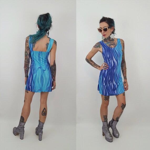 90's Trippy Wavy Pattern Psychedelic Mini Dress - Small Stretchy Tank Dress Bluek  PWaves - Grunge Seapunrinted 90s Rave Sleeveless Dress