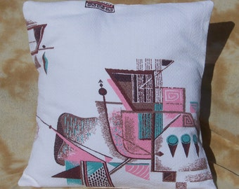 Another Vintage Mid Century Atomic Barkcloth Fabric Decorative Pillow Cover Pillow Case