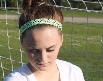 Lime Green Soccer Headbands for Girls, Soccer Gifts for Girls Team, Choice of Sizes and Colors, Non Slip Soccer Headbands