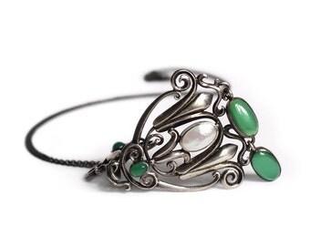 Antique 830 Silver Jugendstil Chrysoprase Mother of Pearl Necklace - Skønvirke Arts & Crafts Nouveau Jewelry