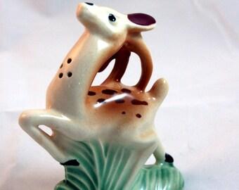 Prancing deer salt shaker-vintage porcelain fawn in the grass- single tall salt shaker
