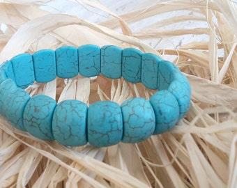 Turquoise bracelet , Genuine turquoise semi precious stone , Turquoise bangle , Adjustable bracelet