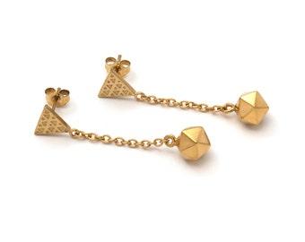 Icosahedron Drop Earrings