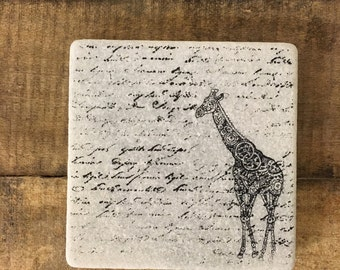 Steampunk Giraffe Stone Coasters, Tumbled Marble, Home Decor, Set of Coasters