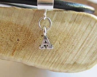 Initial Letter A Charm European-Style and Leather or Sterling Silver Bracelet