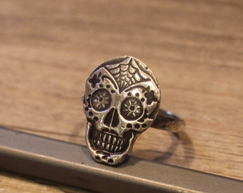Skull Ring Sterling and Fine Silver Ring Day of the Dead Ring Día de Muertos Made to Order