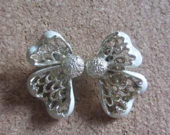 1960s enamel flower petal earrings