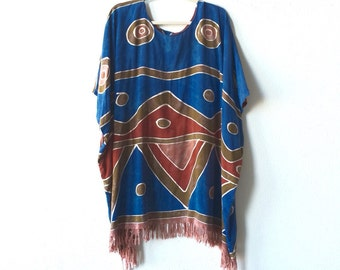 Vintage cape • Boho Batik Fringed Cape Summer Cover Up