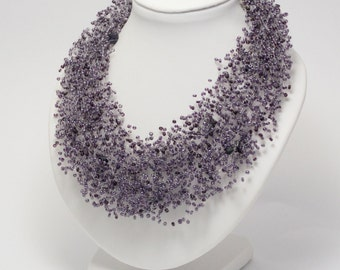 Mom gifts/for/Women Birthday gifts Beaded necklace purple wedding dark purple necklace statement necklace seed bead jewelry Violet necklace