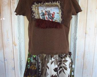Up to Plus Size 3X Boho Funky Dress  Upcycled