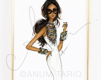 Fashion Illustration Print, Tribal Jewelry, 8x10""