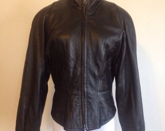 vintage 90's STRUCTURED black WILSON'S leather MOTO jacket - small