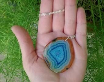 blue geode slice necklace