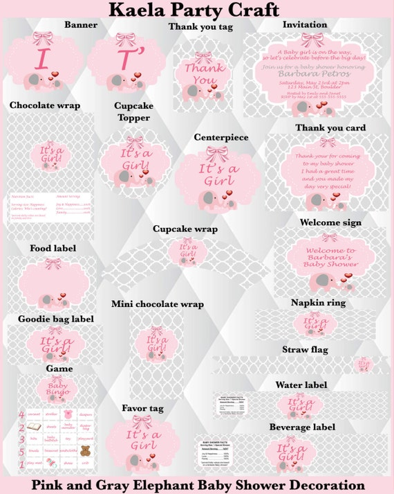 pink and gray elephant baby shower pink and gray baby shower pink