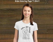 Coloring Book Page T-Shirt - Girls Dream Catcher