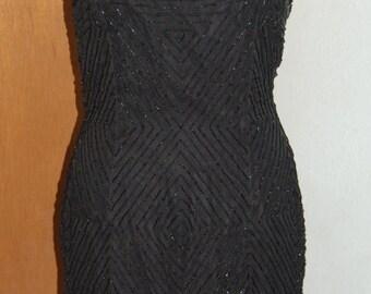 1990's Scala LBD beaded slip dress.