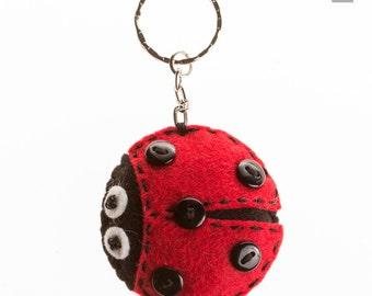 Felt Ladybug keychain, Plush Ladybug charm keychain, Fortune Good luck charm, wool felt keychain, red black, fortune keyring