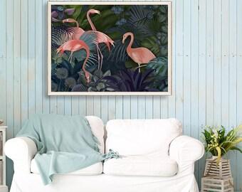 Pink Flamingo Art print - Flamingos in Blue Garden  pink flamingo print flamingo painting flamingo wall art tropical wall art tropical decor