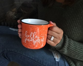 Hello Pumpkin Campfire Mug - Pre-FALL SALE! 15 oz, Pumpkin Spice Latte, PSL Coffee Mug, Fall Decor, Pumpkin Decor, Coffee Cup, Ceramic
