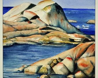 Rocks at the Bay of Fires Tasmania.  original watercolour.