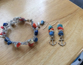 Crocheted Wire Bracelet with matching earrings with anchors