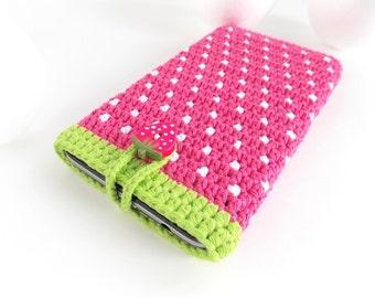 Google Pixel phone case, Strawberry Moto G5 sleeve, Pink Huawei P9 purse, Samsung S8 pouch, geek Nexus 5X case, LG G5 cozy, iPhone 6s sock