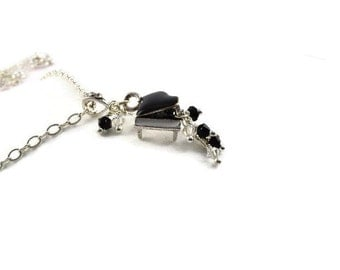 Piano Teacher Gift ~ Piano Charm Necklace ~ Piano Necklace ~ Piano Jewelry ~ Black Crystals & Enameled Piano ~ Pianist ~ Piano Lover N1269