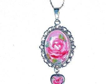 Rose Pendant Romantic Necklace Hand Painted Pink Rose Vintage Style Silver Necklace
