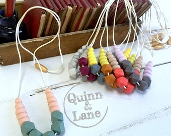 Silicone Teething Necklace CHOOSE COLOR - Bite Beads Nursing Necklace Jewelry - Teether Chewing Beads - Chew Jewelry Beads  - Dainty Duos