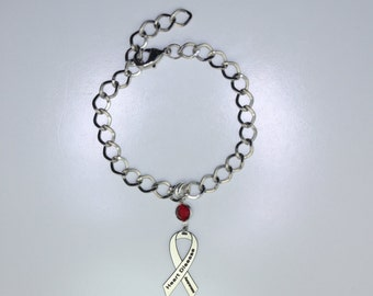 Heart Disease Awareness Ribbon Bracelet - Heart Disease Support, Memorial Jewelry