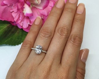 2.25 ctw Oval Accented Solitaire Ring, Blake Engagement Ring, Half Eternity Band, Bridal Ring, Man Made Diamond Simulants, Sterling Silver