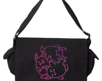 FantastiCute - Monsters Embroidered Canvas Cotton Messenger Bag