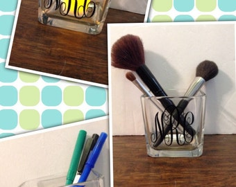 Monogrammed/Personalized Square Glass holder