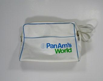 Vintage Pan Am Airlines Flight Bag 1960s Travel green blue white american mcm suitcase carryon pilot attendant stewardess airplane