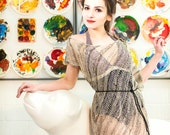 loose knit dress- mesh cover up - beach tunic - bohemian clothing - linen tunic - crochet for sale