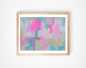 "Abstract Painting Original Acrylic Fine Art, Large Painting on Paper, 18"" x 24"" Modern Pink, Gray, Silver Turquoise Wall Art"