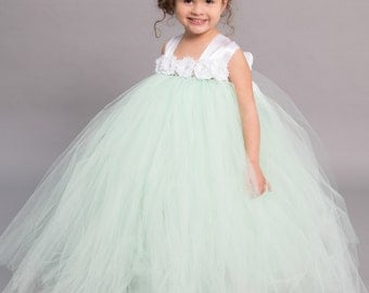 Flower girl dress - Tulle flower girl dress - Mint Dress - Tulle dress-Infant/Toddler - Pageant dress - Princess dress - mint flower dress
